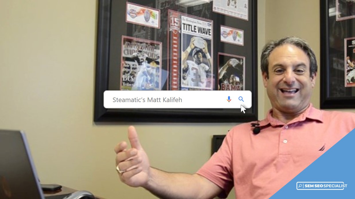 SEM SEO Specialist Online Interview Steamatic of South Alabama's Matt Kalifeh